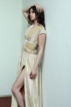 Pleated Slit Gown