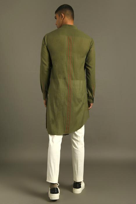 Handloom Cotton Asymmetric Short Kurta