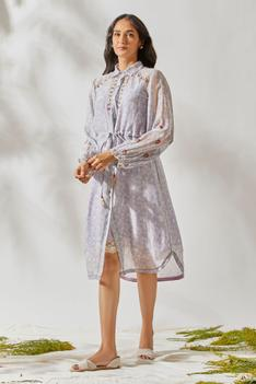 Chanderi Printed Shirt Dress with Inner