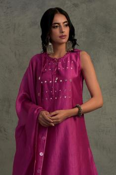 Embroidered Chanderi Kurta Palazzo Set