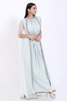 Pleated Gown with Cape