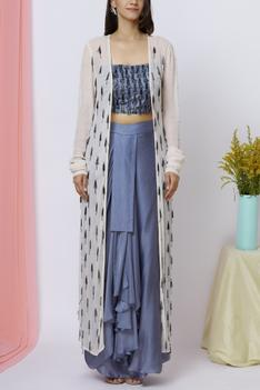 Embroidered Jacket Draped Skirt Set