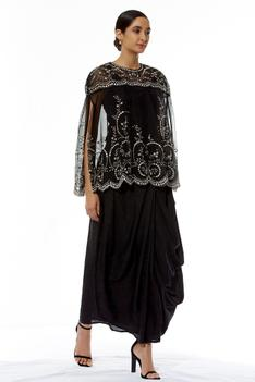 Embroidered Organza Cape with Draped Skirt
