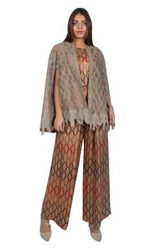 Printed Jumpsuit with Embroidered Cape