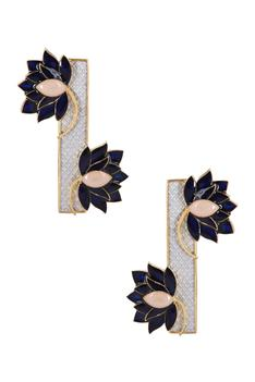 Lotus Enamel Statement Earrings