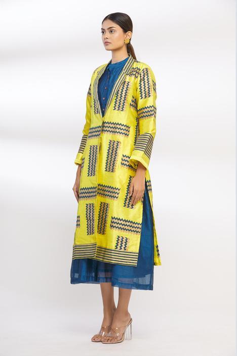Hand Block Print Silk Long Jacket