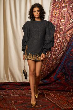 Embroidered Tweed Dress