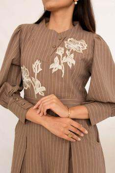 Floral Pleated Embroidered Jumpsuit