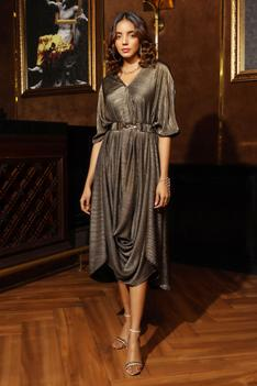 Pleated Shimmer Le Cannet Gown
