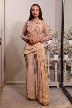 Embroidered Top & Draped Pant Set
