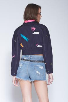 Embroidered Cropped Jacket
