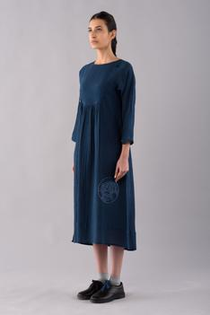 Temari Cotton Linen Dyed Midi Dress