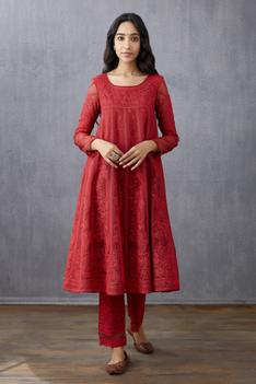 Handwoven Chanderi Silk Organza Anarkali