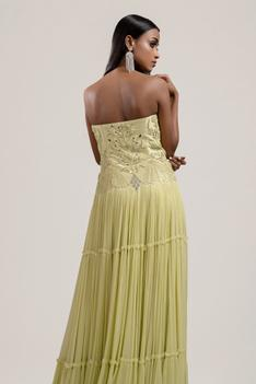 Hand Embroidered Chanderi Bandeau Gown