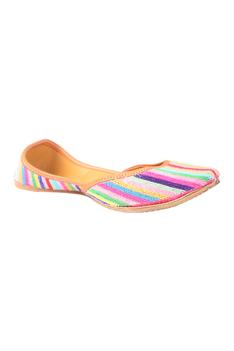 Bead Embroidered Striped Juttis