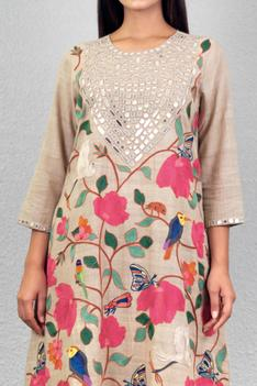 Embroidered Handloom Kurta Palazzo Set