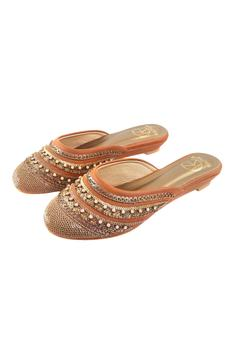 Sequin Embellished Wedge Mules