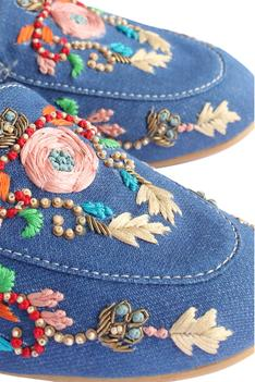 Olivia Denim Floral Embroidered Wedge Mules