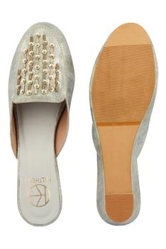 Olivia Embroidered Wedge Mules