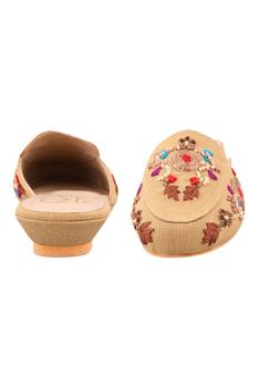 Olivia Floral Embroidered Wedge Mules