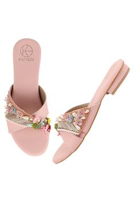 Keysha Embellished Cross Strap Flat Sandals