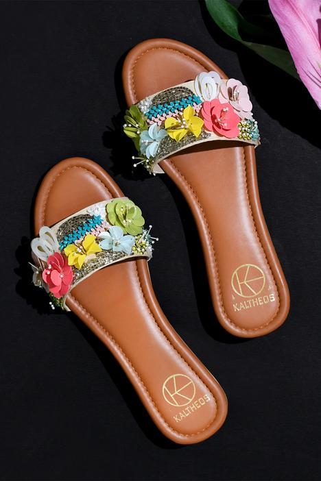 Keysha Floral Embellished Sliders