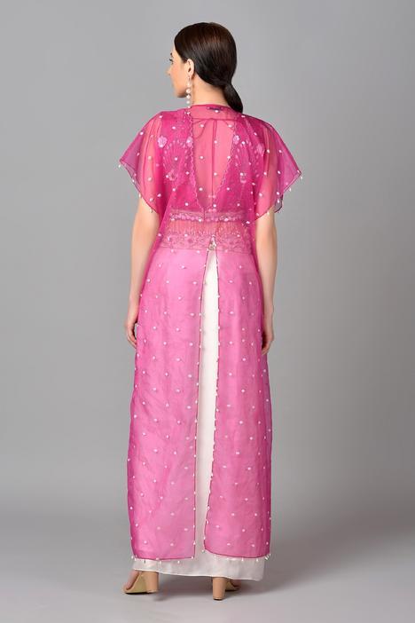 Embroidered Jacket & Draped Skirt Set