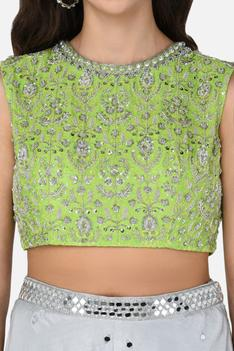 Embroidered Crop Top & Palazzo Set