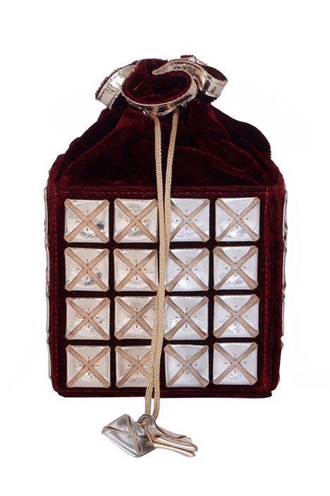Velvet Embroidered Cube Bucket Bag