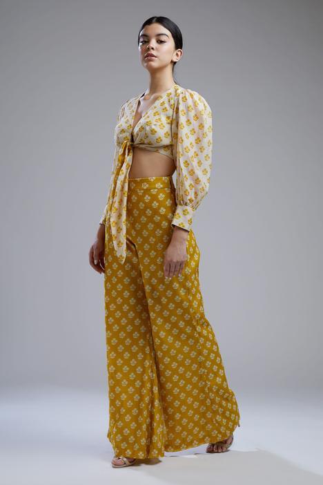 Printed Chanderi Silk Crop Top