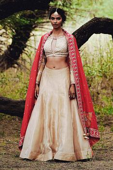Tissue Chanderi Blouse & Lehenga Set