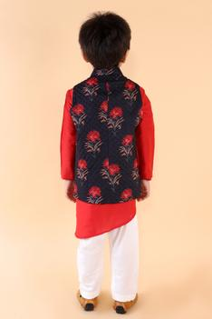 Silk Quilted Nehru Jacket & Kurta Set