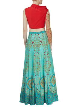 Blue printed skirt with red blouse