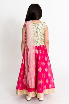 Printed Chanderi Lehenga Set