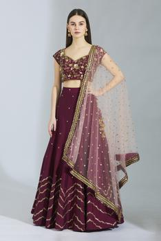 Embroidered Silk Lehenga Set