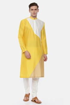 Silk Colorblock Kurta Set
