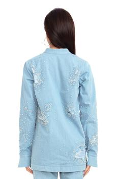 Embroidered Front-Open Jacket