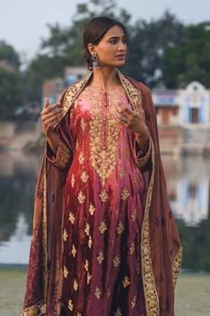 Velvet Embroidered Kurta Set