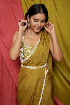Organza Silk Saree with Emboidered Blouse
