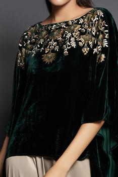 Embroidered Velvet Cape Top