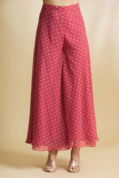 Printed Handloom Chanderi Pant Set with Jacket