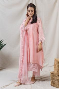 Embroidered Silk Chanderi Kurta Set