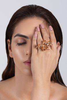 Handcrafted Floral Two Finger Ring