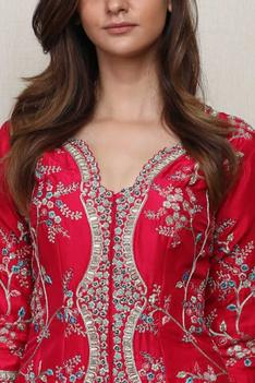 Silk Embroidered Jacket & Palazzo Set