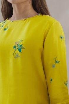 Embroidered Silk Kurta Palazzo Set