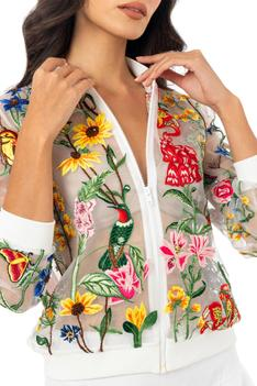 Embroidered Organza Bomber Jacket