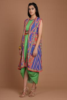 Printed Draped Dress with Cape