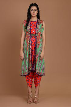 Printed Draped Jumpsuit with Cape