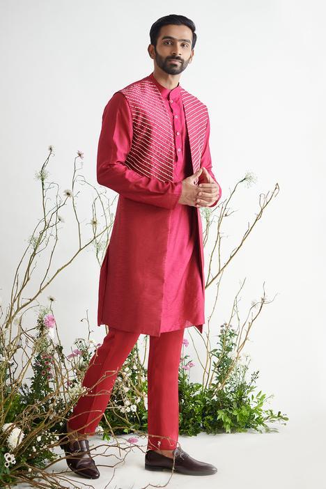 Habutai Silk Sherwani & Kurta Set