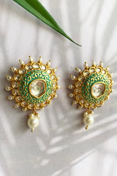 Beaded Carved Earrings